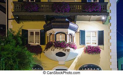 guesthouse, str., gilgen, nacht, österreicher , typisch