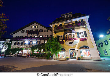 Guesthouses and motels at night in St. Gilgen