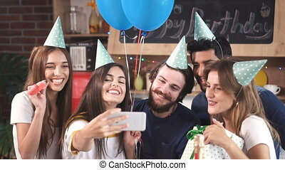 Guests Take Photo at Party - Happy guests taking photo at...
