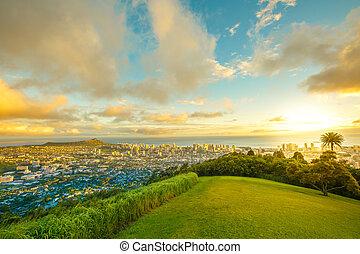 guet, coucher soleil, tantalus, hawaien