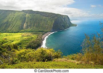 guet, grand, hawaï, waipio, île, vallée