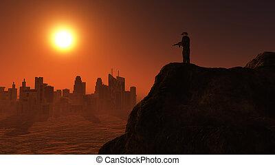 guet, soldat, coucher soleil, 3d