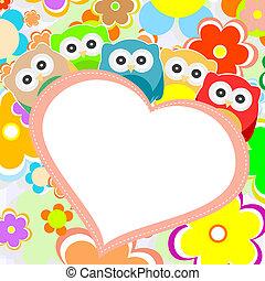 gufi, fiori, e, valentines, cuore, in, cornice