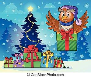 gufo, albero, regalo natale
