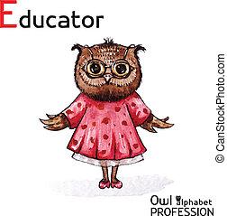 gufo, alfabeto, professioni, watercolor., carattere, vettore, fondo, educatore, bianco
