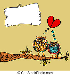 gufo, amore, cartolina auguri
