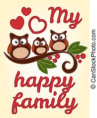 gufo, famiglia, seduta, su, uno, ramo albero