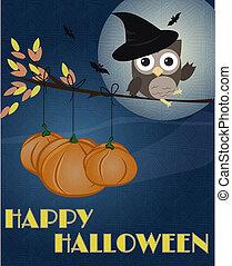 gufo, halloween, felice