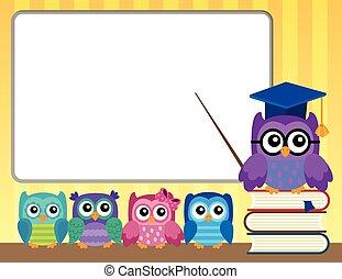 gufo, owlets, tema, insegnante