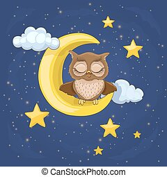 gufo, poco, stelle, nubi, seduta, illustrazione, luna, ...