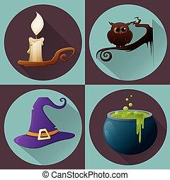 gufo, potion., urente, seduta, set., strega halloween, candela, ramo, cappello, vaso