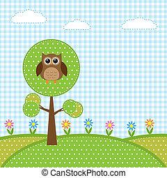 gufo, su, albero, e, fiori