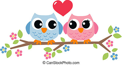 gufo, valentines, amore, giorno