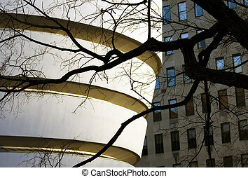 Guggenheim museum architecture closeup in New York, USA