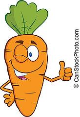 guiñar, carácter, zanahoria