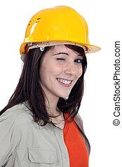 guiño, de, un, hembra, trabajador construcción