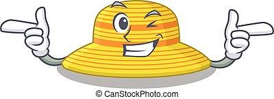 guiño, sombrero, cara, caricatura, diseño, divertido, ojo, verano, actuación