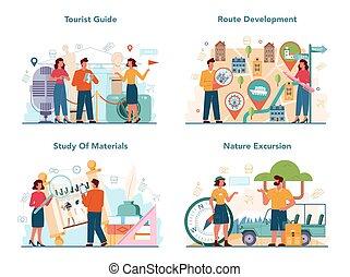 guia, set., história, excursão, escutar, conceito, turistas, férias