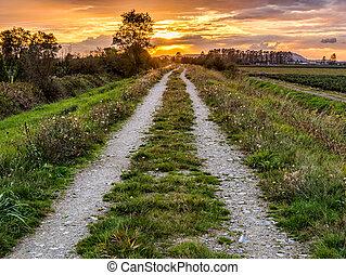 guiando, caminho, pôr do sol, estrada, sujeira