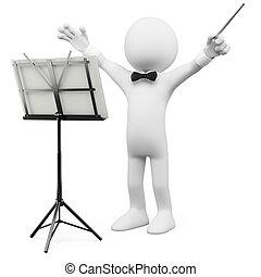 guiando, condutor orquestra, 3d