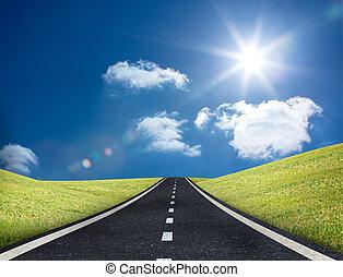 guiando, estrada, saída, horizonte