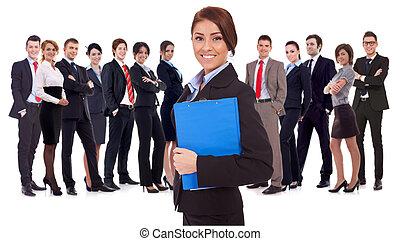 guiando, mulher, jovem, equipe negócio