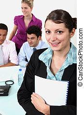 guiando, mulher, negócio-reunião