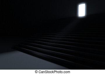 guiando, passos, escuridão, luz