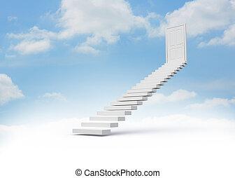 guiando, porta, fechado, passos, céu
