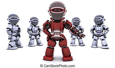 guiando, robô, vermelho, equipe