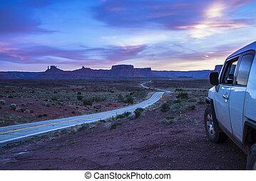 guiando, rota, utah, moab, pôr do sol, estrada, car, 128,...