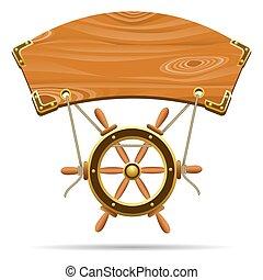 guiando, vetorial, signboard, madeira, wheel., illustration.