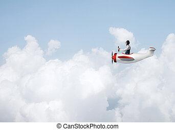 guida, aereo, elica, cappello, aviatore, uomo