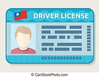guida, automobile, foto, vettore, identificazione, licenza, impiegato, scheda id