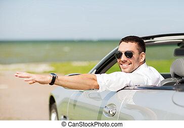 guida, cabriolet, automobile, mano, ondeggiare, uomo, felice