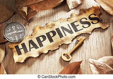 guida, concetto, felicità, chiave