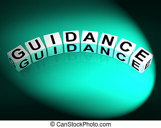 Guidance Dice Showing Guiding Advising and Directing