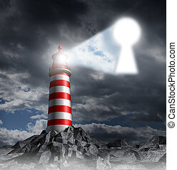 Guidance key business concept with a lighthouse beacon tower shinning a guiding light shaped as a key hole on a stormy dark background sky as a symbol of hope and finding solutions.