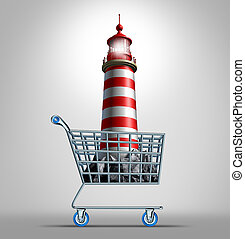Guidance shopping business concept and life direction metaphor as an illuminated lighthouse icon in a store shop cart as a symbol of finding the best advice for commerce buying and financial guide expert or adviser on directing your future.