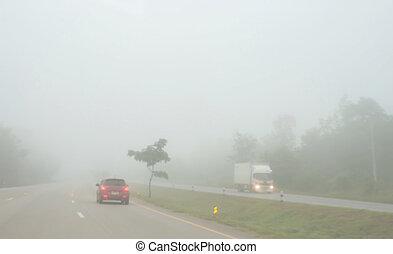 guidando macchina, nebbia, strada