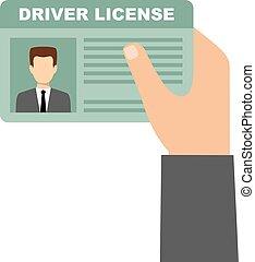guidando trasferimento licenza, automobile, titolo portafoglio mano, uomo