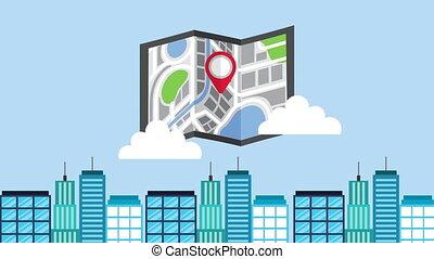 guide, épingle, papier, carte, cityscape, emplacement
