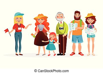 Guide and group of tourists listening her and having an excursion vector illustration in flat design. Various people cartoon characters isolated on white background