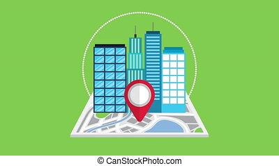 guide, carte, papier, cityscape