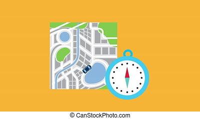 guide, chronomètre, papier, carte