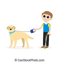 Guide-dog. Blind boy with guide dog. Disability blind person...