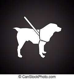 Guide dog icon. Black background with white. Vector ...