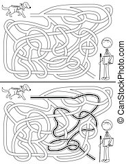 Guide dog maze for kids with a solution in black and white