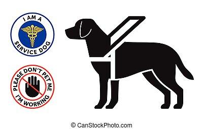 guide-dog, serviço, símbolo, dois, cão, redondo, emblemas