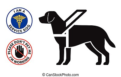 Guide-dog symbol with two round service dog badges, stickers
